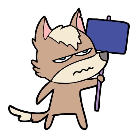 Cartoon wütend Wolf Vektor-Illustration Standard-Bild - 95210601
