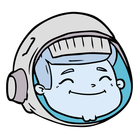 cartoon astronaut face Vector illustration.