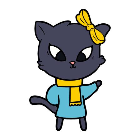 cartoon black cat with yellow scarf and ribbon Ilustracja