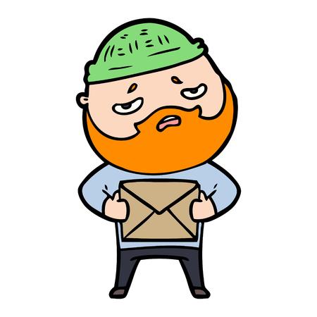 cartoon worried man with beard 版權商用圖片 - 95210794