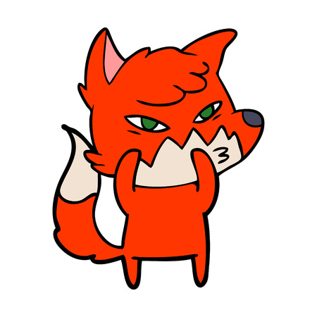 clever cartoon red fox