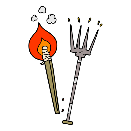 cartoon pitchfork and burning brand
