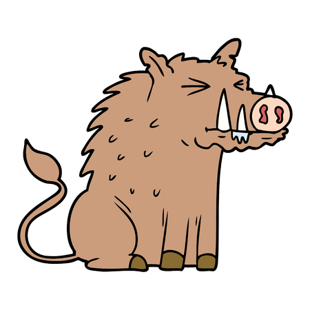 cartoon warthog Vector illustration.
