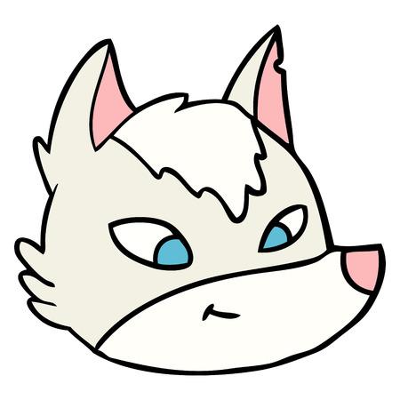 cartoon wolf face Illustration