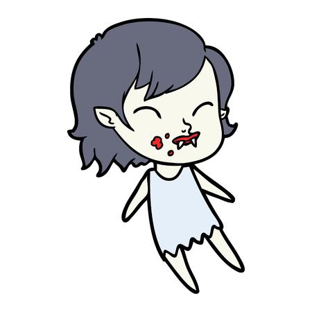 Fille vampire de bande dessinée avec le sang sur la joue Banque d'images - 95211166
