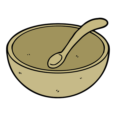 cartoon wooden bowl and spoon Ilustracja