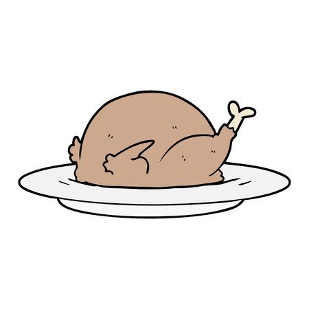 cartoon cooked turkey Vector illustration.