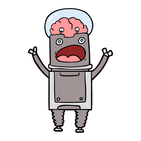 cartoon surprised gray robot 일러스트