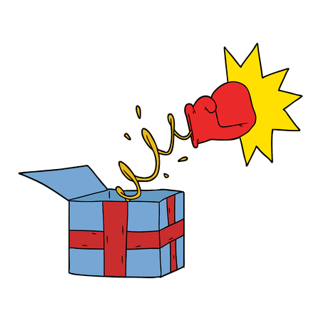 trick present with boxing glove Stock Illustratie