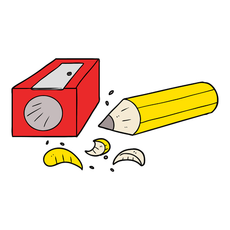 cartoon pencil and sharpener