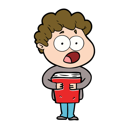 Cartoon man gasping in surprise illustration on white background. Vettoriali