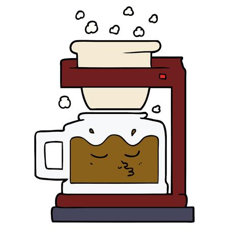 Cartoon filter coffee machine illustration on white background.