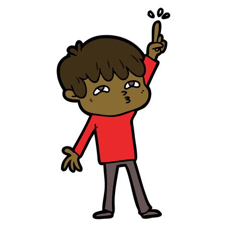 Cartoon boy asking question illustration on white background.