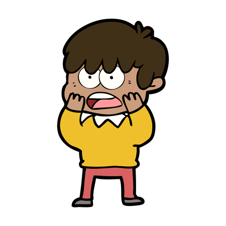 Worried cartoon boy illustration on white background.
