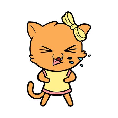 Cartoon cat illustration on white background.