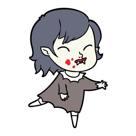 Fille vampire de bande dessinée avec le sang sur la joue Banque d'images - 95217528
