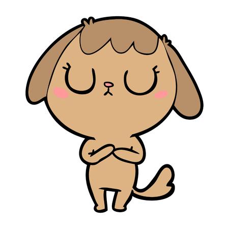 Snob dog  in cartoon illustration. Illustration