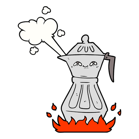 Cartoon coffee pot illustration on white background.