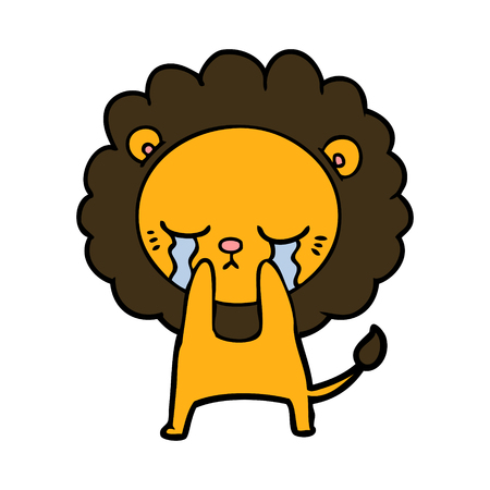 Crying cartoon lion illustration on white background.