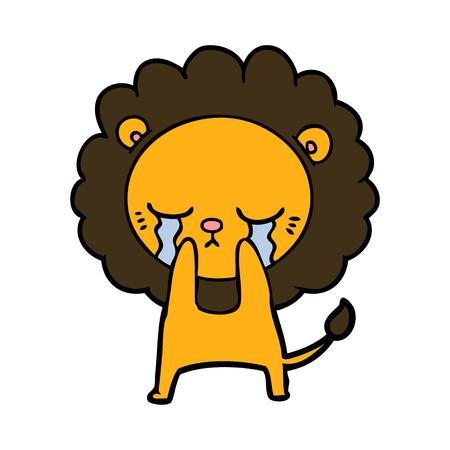 Crying cartoon lion illustration on white background.