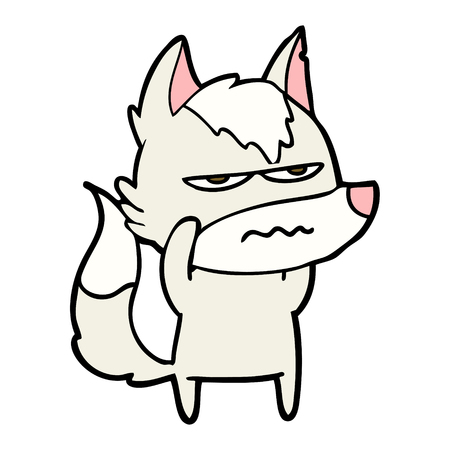 Cartoon annoyed wolf.