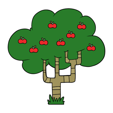 Cartoon apple tree illustration on white background. Ilustração