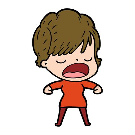 Cartoon woman talking.