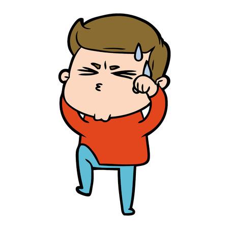 Cartoon man sweating illustration on white background. Illusztráció