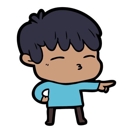 Cartoon curious boy illustration on white background.