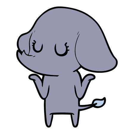cute elephant shrugging shoulders Çizim