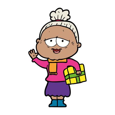 cartoon happy old lady Stock fotó - 95244226