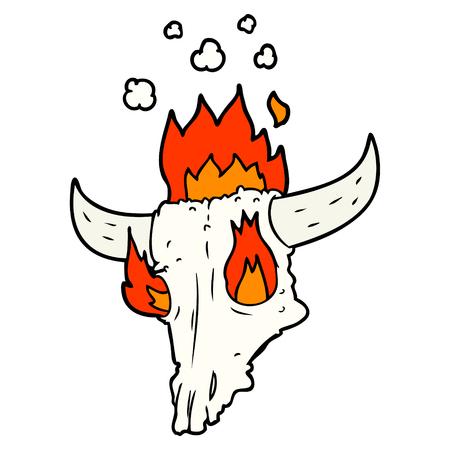 spooky flaming animals skull cartoon