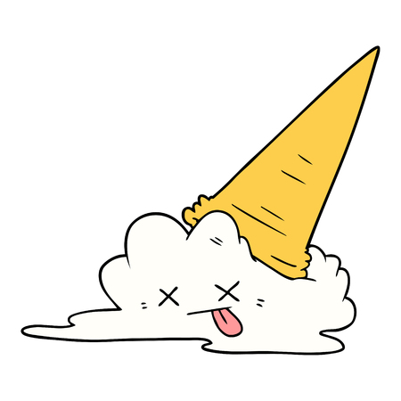 splatted ice cream cartoon Vettoriali
