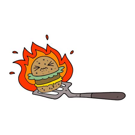 cartoon burger on spatula
