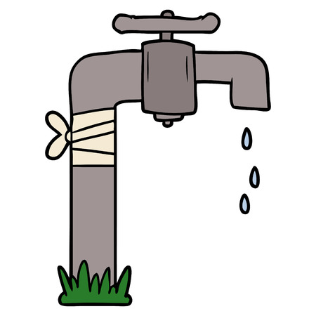 cartoon old water tap Stock Illustratie
