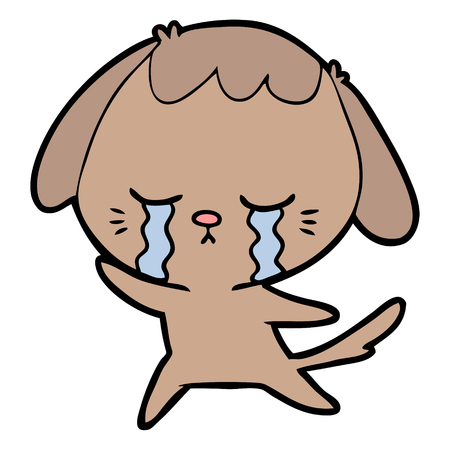 cartoon crying dog Illustration