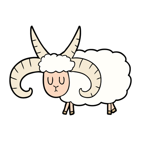 cartoon long horned ram