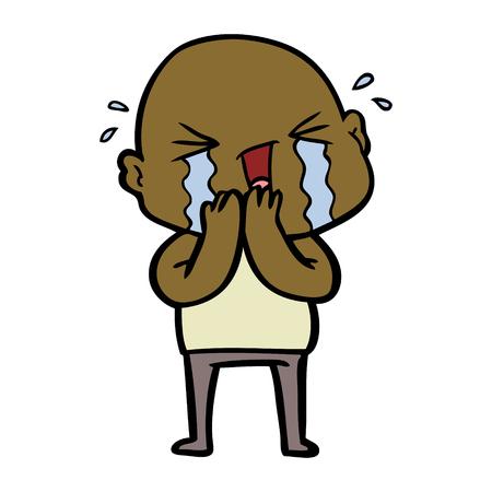 cartoon crying bald man 向量圖像