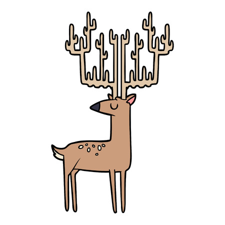 Hand drawn cartoon stag with huge antlers Ilustracja