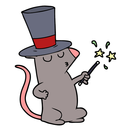 Hand drawn cartoon mouse magician