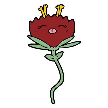 Hand drawn happy cartoon flower Illustration