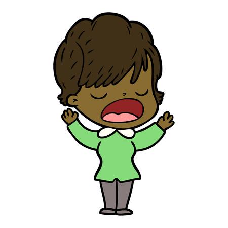 Hand drawn cartoon woman talking