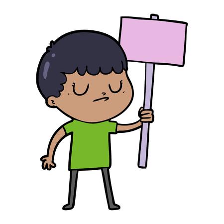 cartoon grumpy boy with placard Vectores