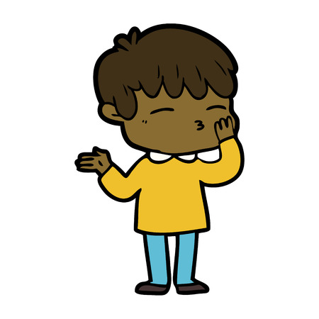 Hand drawn cartoon curious boy