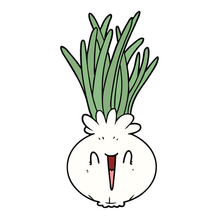 Hand drawn cartoon onion Ilustracja