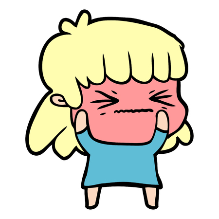 Angry girl in cartoon illustration. Illustration