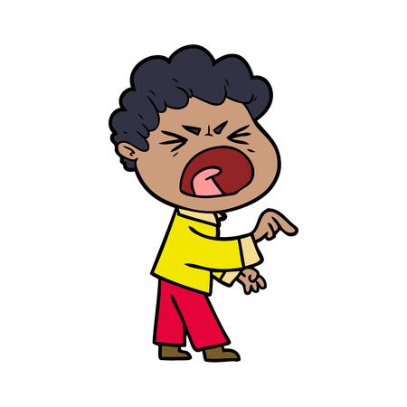 cartoon furious man Ilustração