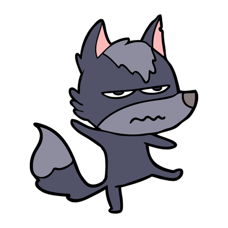 Hand drawn cartoon annoyed wolf