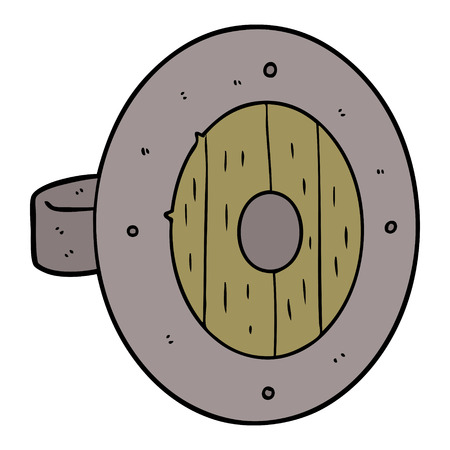 Hand drawn viking shield cartoon