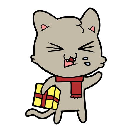 Hand drawn cartoon cat hissing